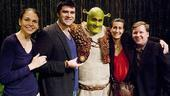 Sutton Foster, Ben Crawford and Brian d'Arcy James cozy up to composer Jeanine Tesori and scribe David Lindsay-Abaire.