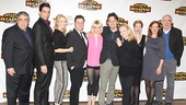 Bullets Over Broadway stars Vincent Pastore, Nick Cordero, Betsy Wolfe, Brooks Ashmanskas, Helene Yorke, Zach Braff, Marin Mazzie, Karen Ziemba and Lenny Wolpe gather with director and choreographer Susan Stroman (fourth from right) for a parting photo.