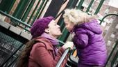 Melissa and Victoria pause for fun at a kiddie playground in Washington Square Park. Aren't they sweet together?