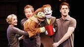 Maggie Lakis and Cullen R.  Titmas as Nicky and Seth Rettberg as Rod in Avenue Q.