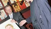 Not a bad looking guy! Christopher Walken admires his portrait newly revealed by Sardi&rsquo;s Max Klimavicius.