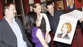 The Carnage family gathers to inspect Tony winner Janet McTeer's caricature.
