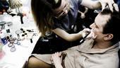 Douglas Hodge Backstage at La Cage – makeup artist