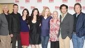Tony Roberts (l.) and Larry Pine (r.) step in for a group shot with John Glover, Kelli Barrett, Ana Gasteyer, Jan Maxwell, Rosemary Harris and Reg Rogers.