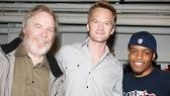 Neil Patrick Harris greets Superior Donuts stars Michael McKean and Jon Michael Hill at Broadway's Music Box Theatre.