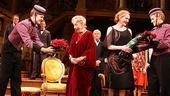 Leading ladies Rosemary Harris and Jan Maxwell receive opening night bouquets.