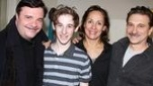 Noah Robbins, who's making his Broadway debut as Eugene Morris Jerome, steps in for a snap with Nathan Lane and stage parents Laurie Metcalf and Dennis Boutsikaris.