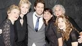 Jane Lynch doesn't get to keep a visitor like Matthew Morrison all to herself. Mary Louise Wilson, Mary Birdsong, Tyne Daly and Lisa Joyce all crowd in for a group shot.