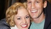 Cable-vision: Co-star Andrew Samonsky gives Laura Osnes and welcoming squeeze.