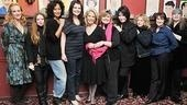 It's a girl power moment as Love, Loss and What I Wore femmes Katie Finneran, Natasha Lyonne, Tracee Ellis Ross, Casey Wilson, Debra Monk, Michele Lee, Carol Kane, playwright Delia Ephron and book author Ilene Beckerman crowd in for a shot with the woman who brought their hit to off-Broadway.
