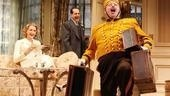 Jan Maxwell as Maria, Tony Shalhoub as Saunders and Jay Klaitz as the Bellhop in Lend Me a Tenor.
