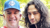 Gregory Jbara (sporting a Billy Elliot Wankers jersey) poses with a dressed-down Constantine Maroulis of Rock of Ages.