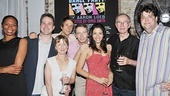 Cast members Stephanie Pope Caffey, Ted Koch, Pippa Pearthree, Ben Roberts, Arnie Burton, Lisa Birnbaum and Robert Hogan shed those beards and stovepipe hats to raise a glass with playwright Aaron Loeb.