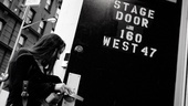 She enters the Palace Theatre stage door for the last time as a Broadway newcomer.