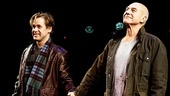 T.R. Knight and Patrick Stewart take a bow on opening night of A Life in the Theatre.