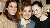 After the show, T.R. Knight welcomes two special visitors to his dressing room: former Greys Anatomy co-stars Kate Walsh and Melissa George.