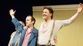 Onstage best friends Denis O'Hare and Brendan Fraser greet the adoring audience.