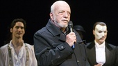 Director Harold Prince delights the crowd with an impromptu speech expressing his pride in Phantom, as Sean MacLaughlin and Hugh Panaro look on.