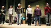 The six-member ensemble of Good People takes a bow on opening night: Estelle Parsons, Renee Elise Goldsberry, Tate Donovan, Frances McDormand, Becky Ann Baker and Patrick Carroll. 