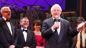 The real-life hero of Catch Me If You Can, Frank Abagnale Jr., takes the stage to praise the musical based on his life story, as lyricist Scott Wittman and composer Marc Shaiman look on.