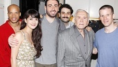 Bengal Tiger cast members Glenn Davis, Sheila Vand, Hrach Titizian, Arian Moayed and Glenn Fleischer share a special moment with Kirk Douglas.
