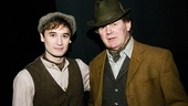 War Horse star Seth Numrich wishes Michael Morpurgo good luck before the curtain goes up on the December 14 matinee.