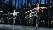 Aaron J. Albano, Alex Wong and the cast of Newsies dance up a storm at curtain call!