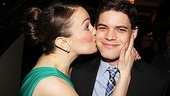 We did it! Kara Lindsay plants a congratulatory kiss on her onstage love interest, Jeremy Jordan.