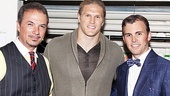 Clay Matthews strikes a pose with onstage father and son Paul Schoeffler and Tony LePage.