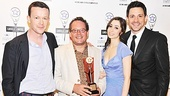 Once librettist Enda Walsh, New York Theatre Workshop managing director William Russo, and stars Cristin Milioti (Girl) and Steve Kazee (Guy) pose proudly with the award for Outstanding Musical.