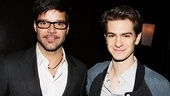 Nominees Ricky Martin (Evita) and Andrew Garfield (Death of a Salesman) catch up at the luncheon.