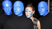 Heidi Klum fits right in with the off-Broadway trio! See Blue Man Group at the Astor Place Theatre.