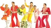 Felicia Finley as Tanya, Graham Rowat as Harry Bright, Judy McLane as Donna Sheridan, Aaron Lazar as Sam Carmichael, Lauren Cohn as Rosie and Daniel Cooney as Bill Austin in Mamma Mia!