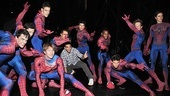 Levya (c.), Carney (r.)  and the cast of Spider-Man have a blast unleashing their superpowers backstage—catch the high-octane musical live at the Foxwoods Theatre!