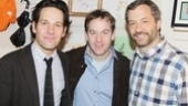 Three very funny guys! Paul Rudd, writer/monologist Mike Birbiglia and Judd Apatow line up for a photo.