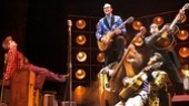 Ben Goddard as Jerry Lee Lewis, James Barry as Carl Perkins, Cody Slaughter as Elvis Presley and David Elkins as Johnny Cash in the national tour of Million Dollar Quartet.