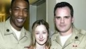 In the show, Violet (Lauren Ward, center) encounters two soldiers, played by Michael McElroy (left) and Michael Park.
