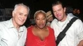 Hairspray's Dick Latessa & Clarke Thorell flank Rent's Frenchie Davis.