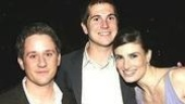 Menzel poses with Wicked co-star Christopher Fitzgerald and his brother Alex Field.