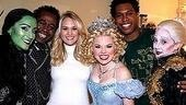 Carrie Underwood surrounded by the stars of Wicked, Eden Espinosa, Ben Vereen, Megan Hilty, Derrick Williams and Carol Kane.