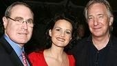 Roundabout artistic director Todd Haimes with Suddenly star Carla Gugino and Alan Rickman, who co-starred with Gugino in the film Judas Kiss.