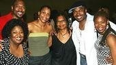 Author Walker surrounded by Color Purple stars (L-R) NaTasha Yvette Williams, Alton Fitzgerald White, Elisabeth Withers-Mendes, Chaz Lamar Shepherd and Darlesia Cearcy.