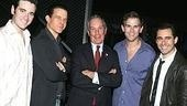 Standing with the man: Jersey Boys understudy Colin Donnell, Christian Hoff, Mayor Michael Bloomberg, Daniel Reichard and John Lloyd Young.