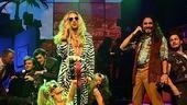 Will Swenson as Stacee Jaxx, Adam Dannheisser as Dennis, Mitchell Jarvis as Justice and company in Rock of Ages.