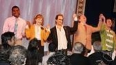 Take a bow! Castmates Max Kumangai, Chandra Lee Schwartz, David Pittu, Peter Bartlett and Matt Schock celebrate their second opening night