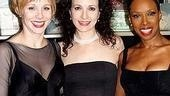 Charlotte d'Amboise, Chicago's Roxie Hart, jumps in with co-star Brenda Braxton to pose with murderess alum Bebe Neuwirth.