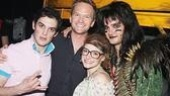 Harris gets close to Rock of Ages players Wesley Taylor,Lauren Molina and Jeremy Woodard.