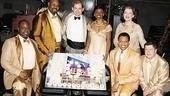 Memphis stars J. Bernard Calloway, James Monroe Iglehart, Chad Kimball, Montego Glover, Derrick Baskin, Cass Morgan and Michael McGrath surround a tray of cupcakes honoring their show&amp;rsquo;s 200th Broadway performance.