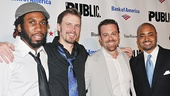 Cast members Nyambi Nyambi, Bill Heck, Matthew Rauch and Francois Battiste celebrate together.