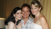 Peter Scolari gets opening night hugs from Stephanie D'Abruzzo and Jessica Tyler Wright, who play multiple characters in the new comedy.